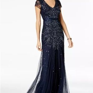 Adrianna Papell Navy Cap-Sleeve Gown size 12